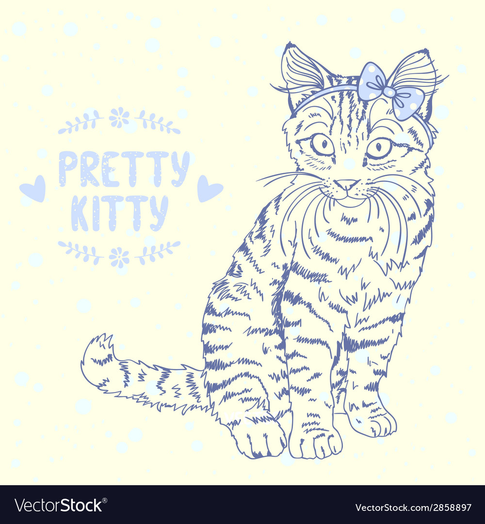 Kitten sketch with a bow vector | Price: 1 Credit (USD $1)