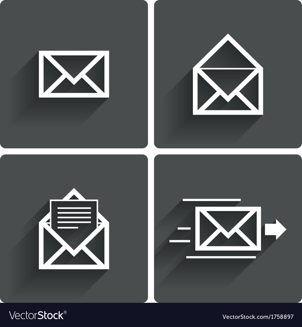 Mail icons mail delivery sign letter in envelope vector | Price: 1 Credit (USD $1)