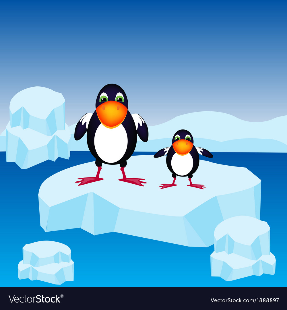 Penguins on block of ice vector | Price: 1 Credit (USD $1)