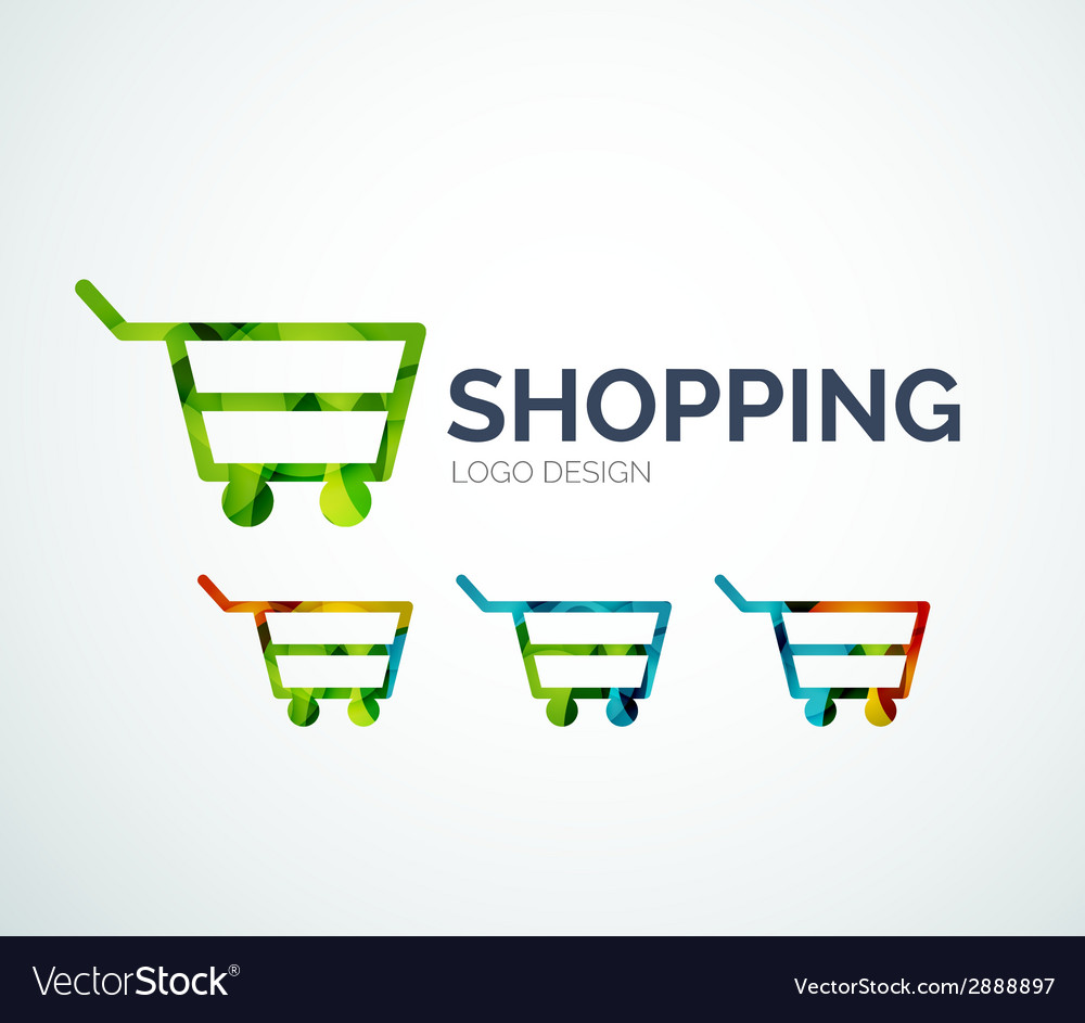 Shopping logo design made of color pieces vector | Price: 1 Credit (USD $1)
