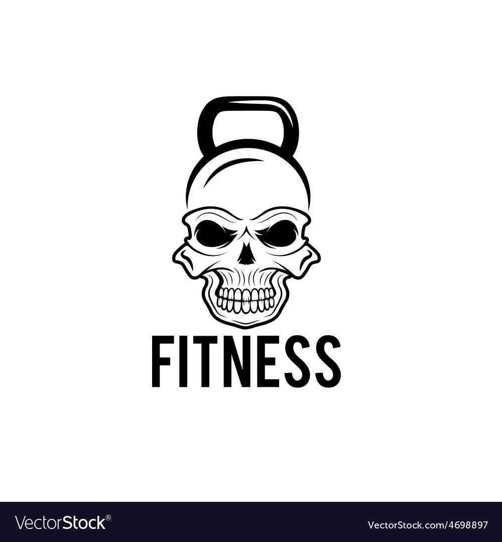 Skull in the form of kettlebell fitness concept vector | Price: 1 Credit (USD $1)