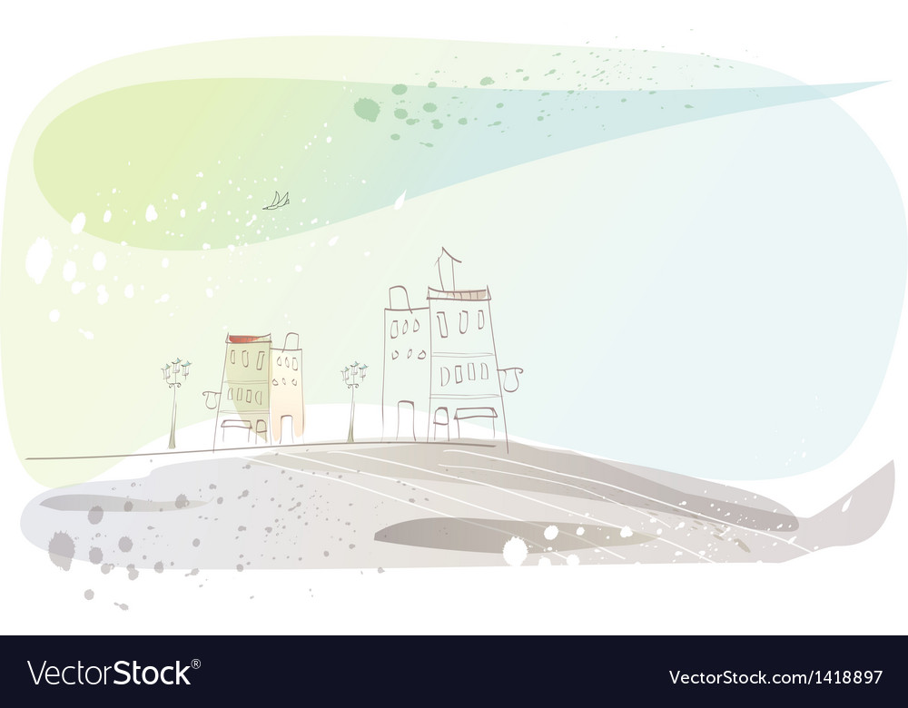 Stylized town sketch vector | Price: 1 Credit (USD $1)