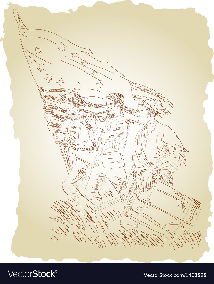 American revolution soldier patriot marching with vector | Price: 1 Credit (USD $1)