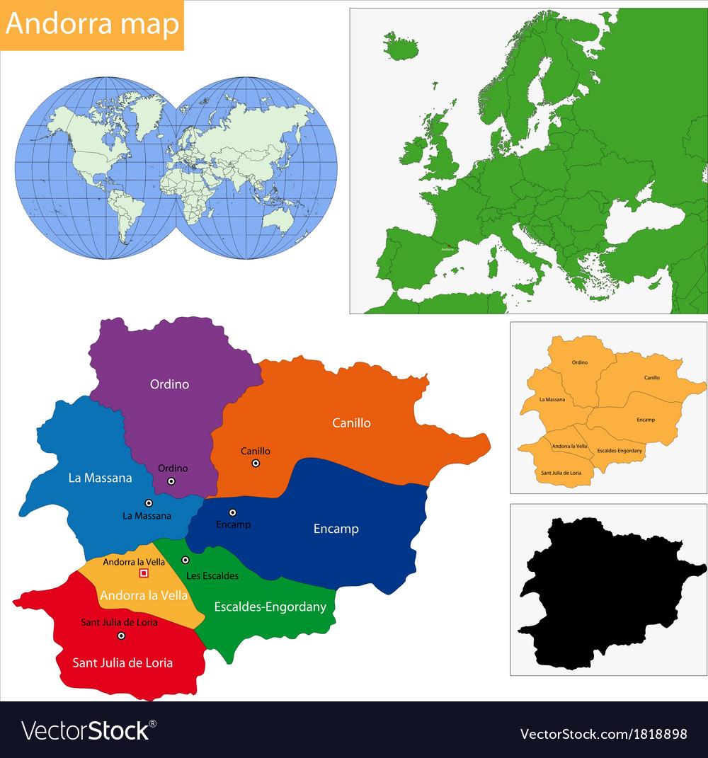 Andorra map vector | Price: 1 Credit (USD $1)