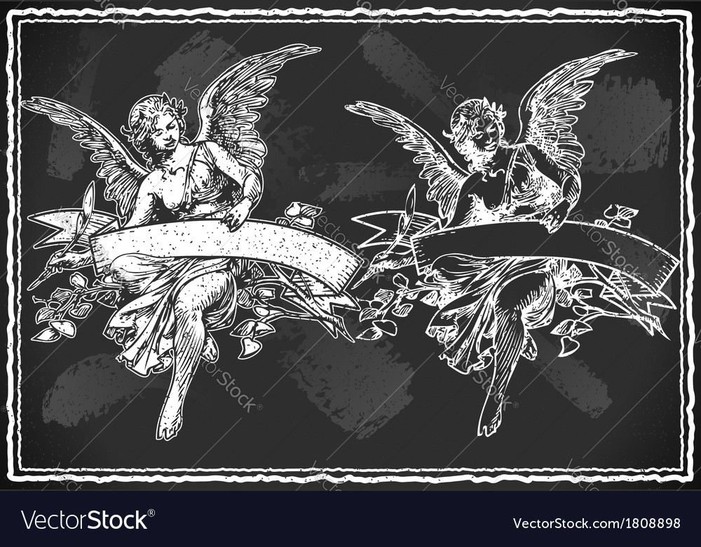 Angel with holding a banner on vintage blackboard vector | Price: 1 Credit (USD $1)