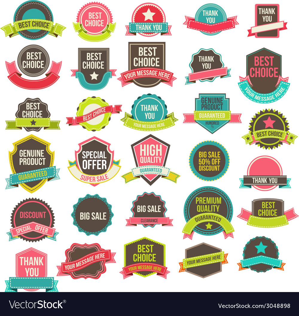 Collection labels and ribbons vector | Price: 1 Credit (USD $1)