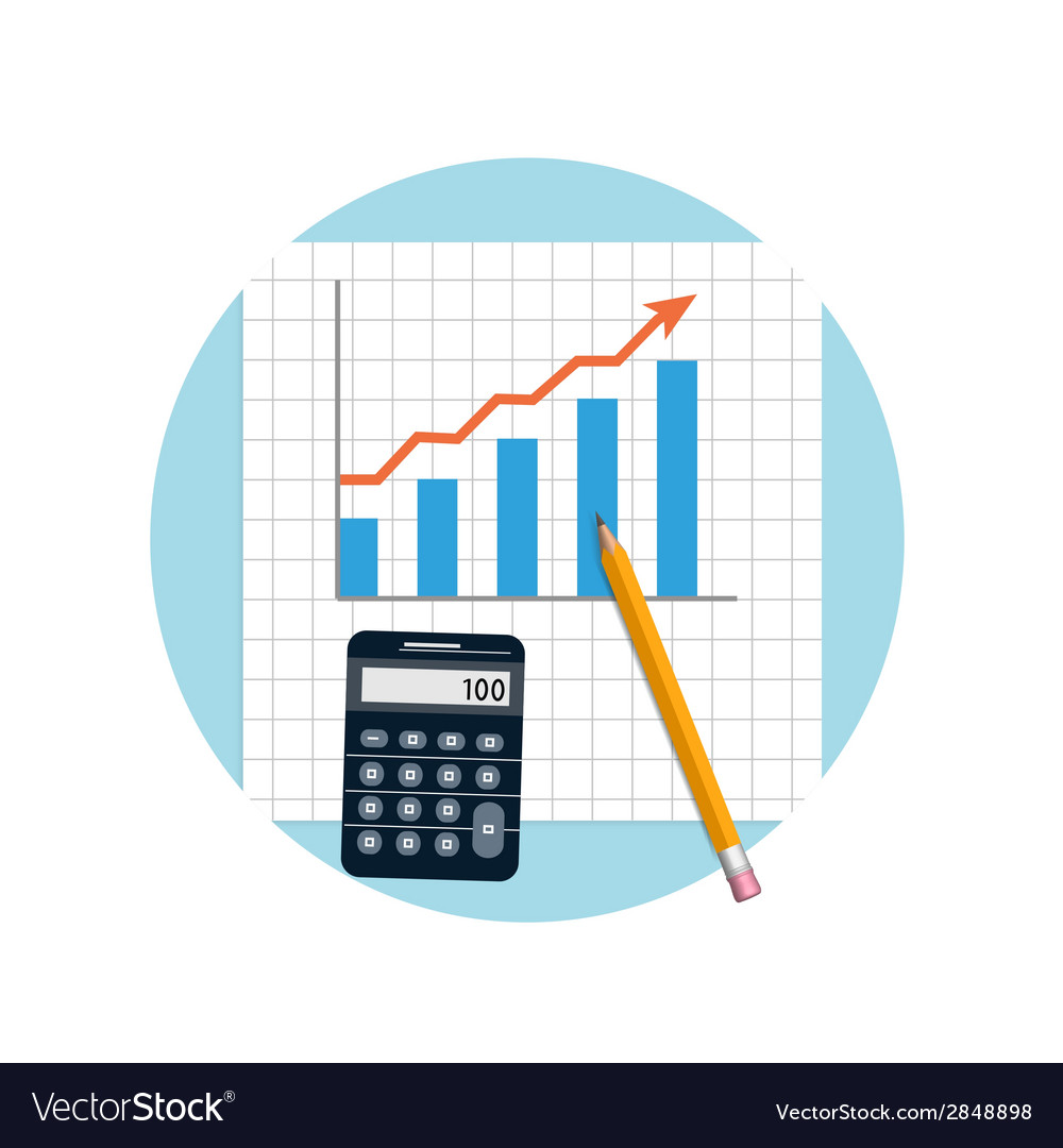 Financial planning with calculator and pencil vector | Price: 1 Credit (USD $1)