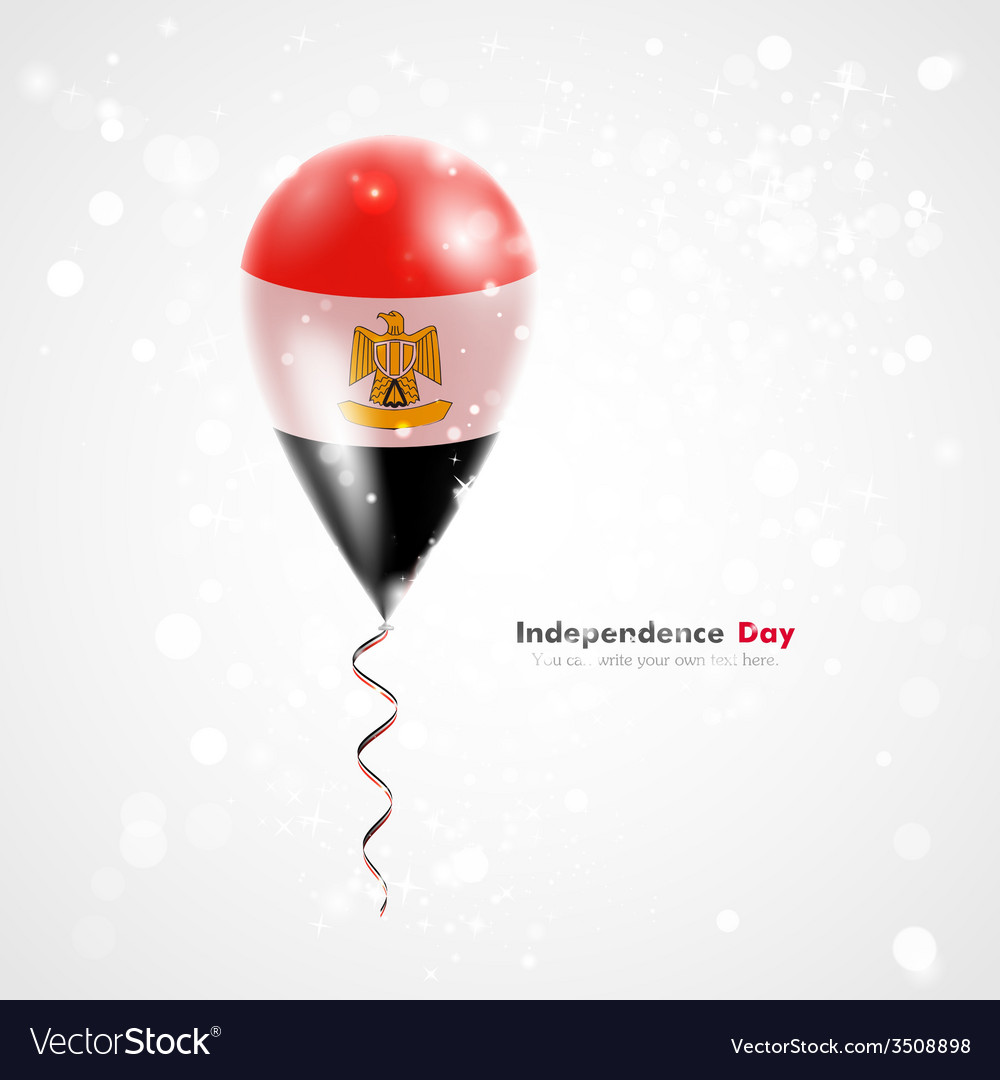 Flag of egypt on balloon vector | Price: 1 Credit (USD $1)