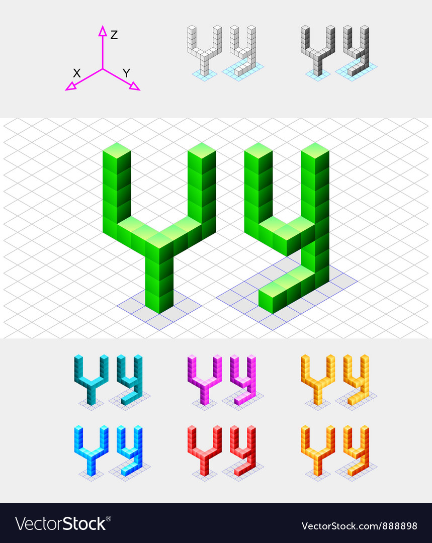 Isometric font from the cubes letter y vector | Price: 1 Credit (USD $1)