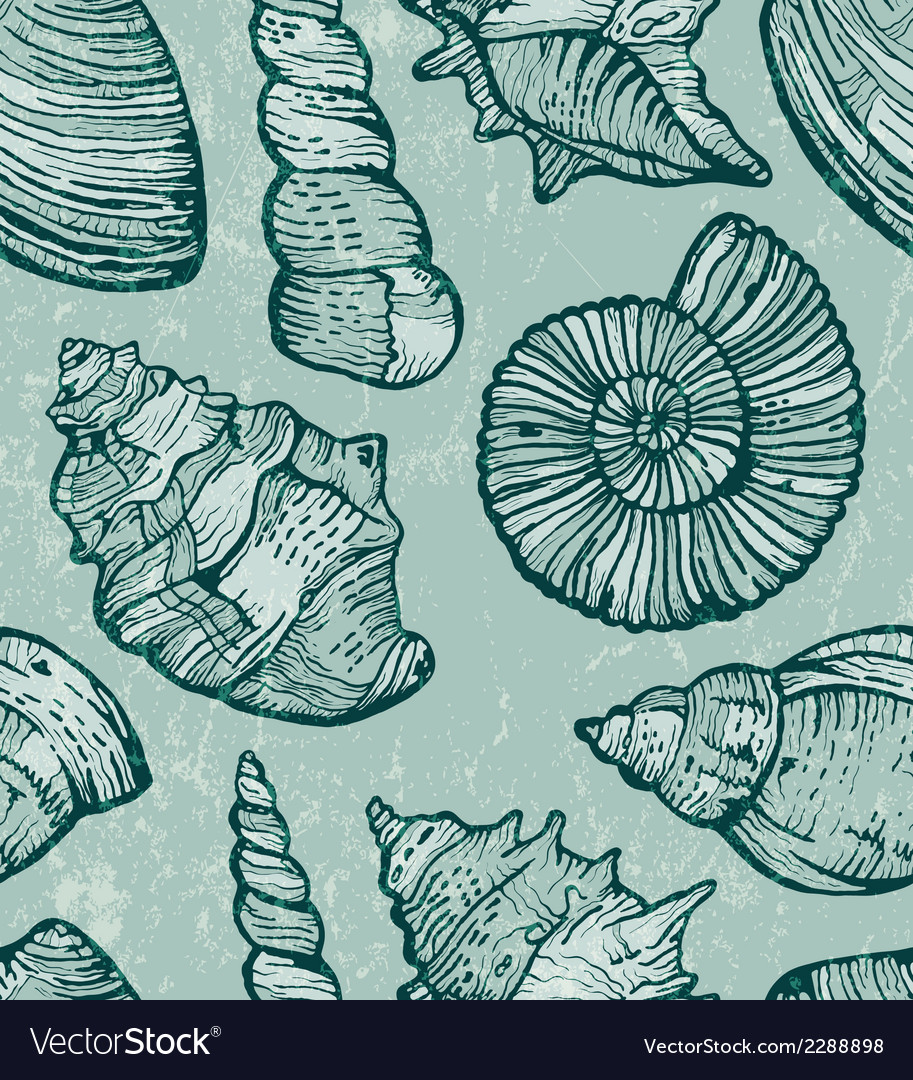 Sea shell seamless background vector | Price: 1 Credit (USD $1)