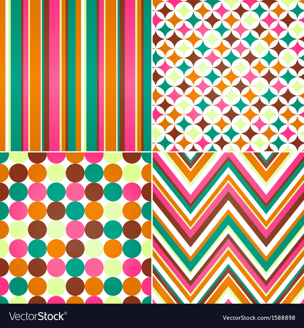 Seamless stripes zig zag and polka dots backgroun vector | Price: 1 Credit (USD $1)