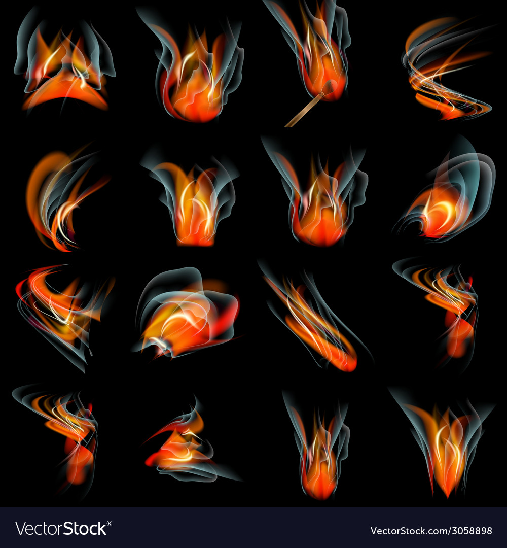 Set of burn flame fire abstract background vector | Price: 1 Credit (USD $1)