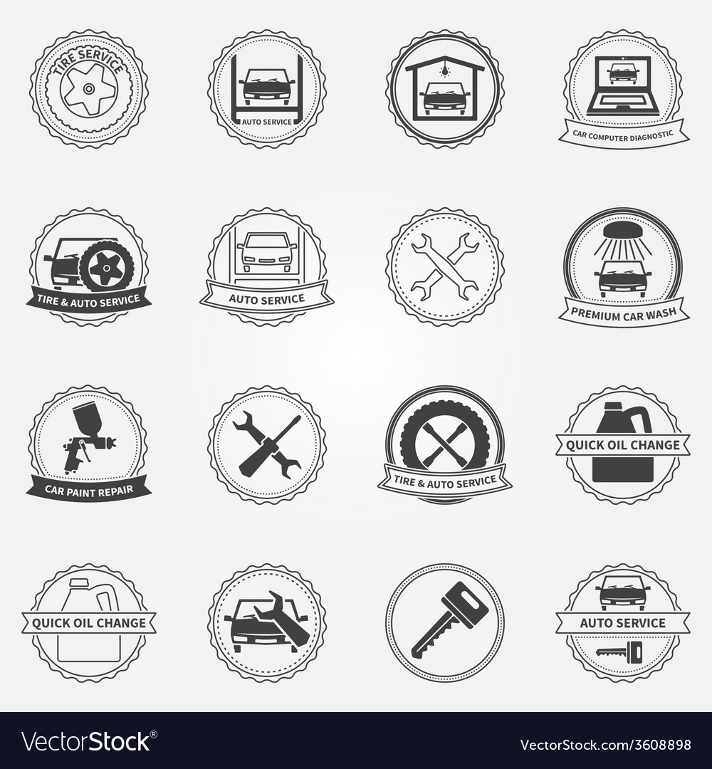 Set of car service symbols and badges vector | Price: 1 Credit (USD $1)