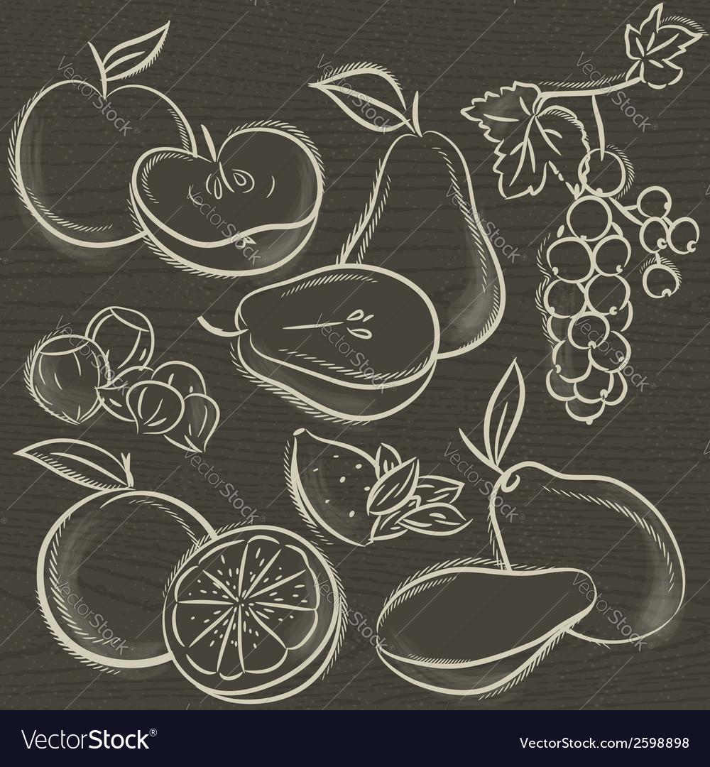 Set of fruits apple pear mango orange vector | Price: 1 Credit (USD $1)