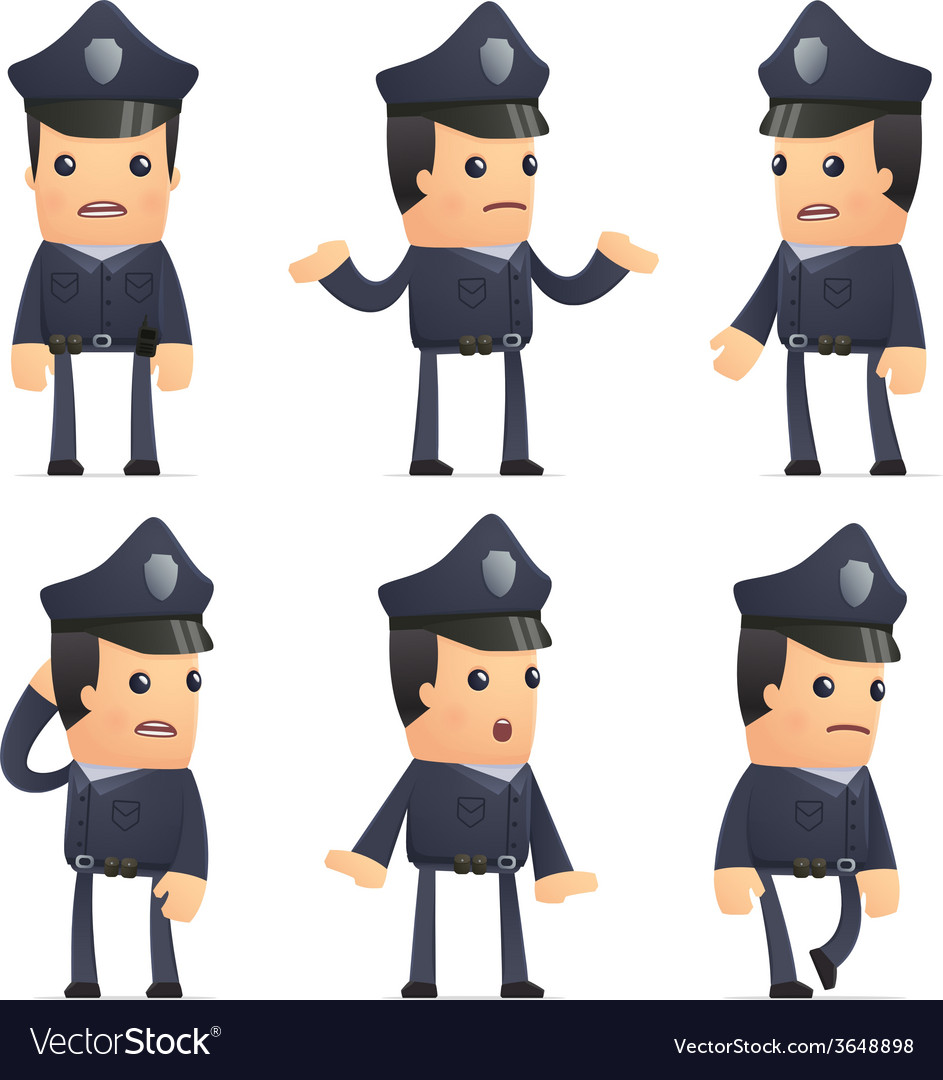 Set of policeman character in different poses vector | Price: 3 Credit (USD $3)