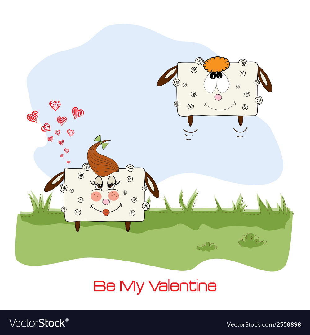 Sheep lovers comic for valentines day or wedding vector | Price: 1 Credit (USD $1)