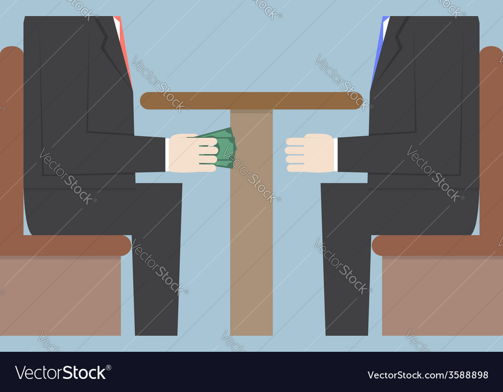 Two businessmen passing money under the table bri vector | Price: 1 Credit (USD $1)