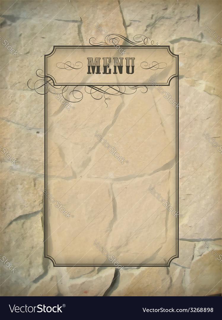Vintage menu frame stone wall vector | Price: 1 Credit (USD $1)