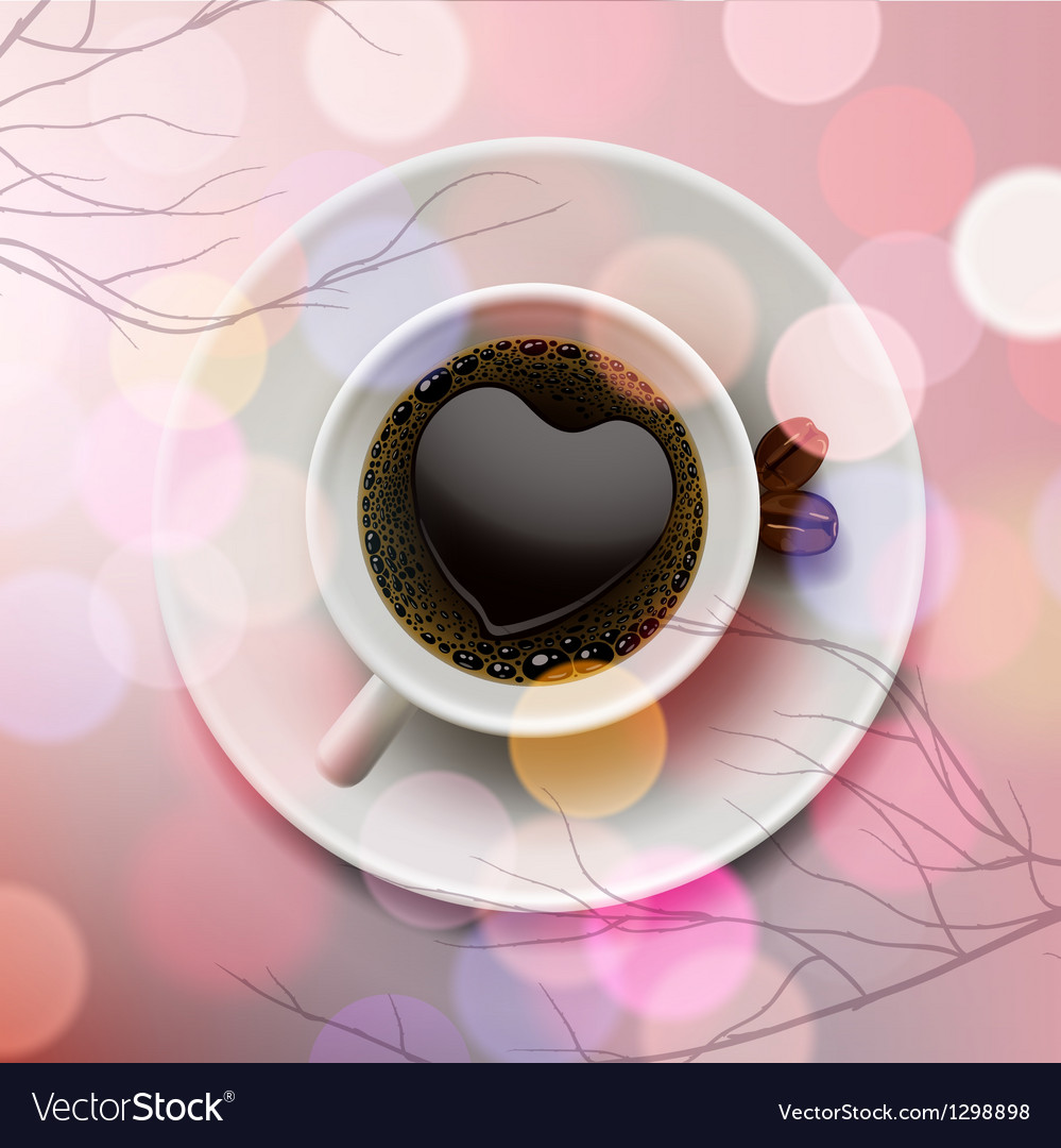 White coffee cup with heart shape made of foam on vector | Price: 3 Credit (USD $3)