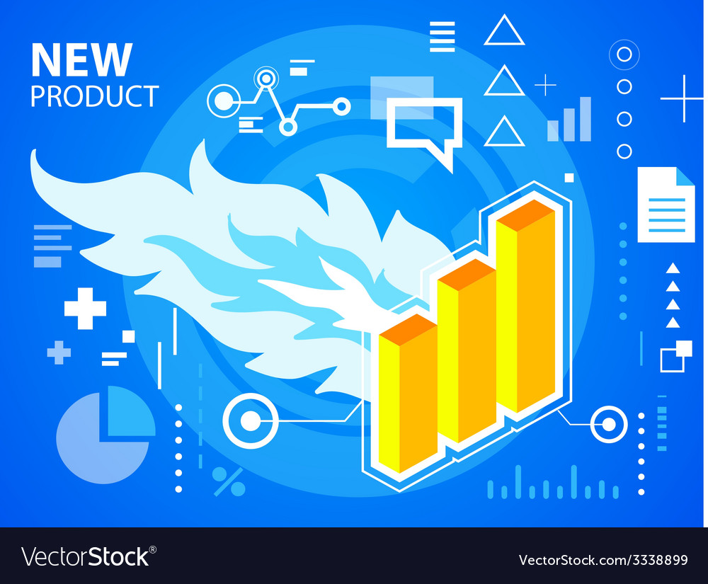 Bright fire and bar chart on blue background vector | Price: 3 Credit (USD $3)
