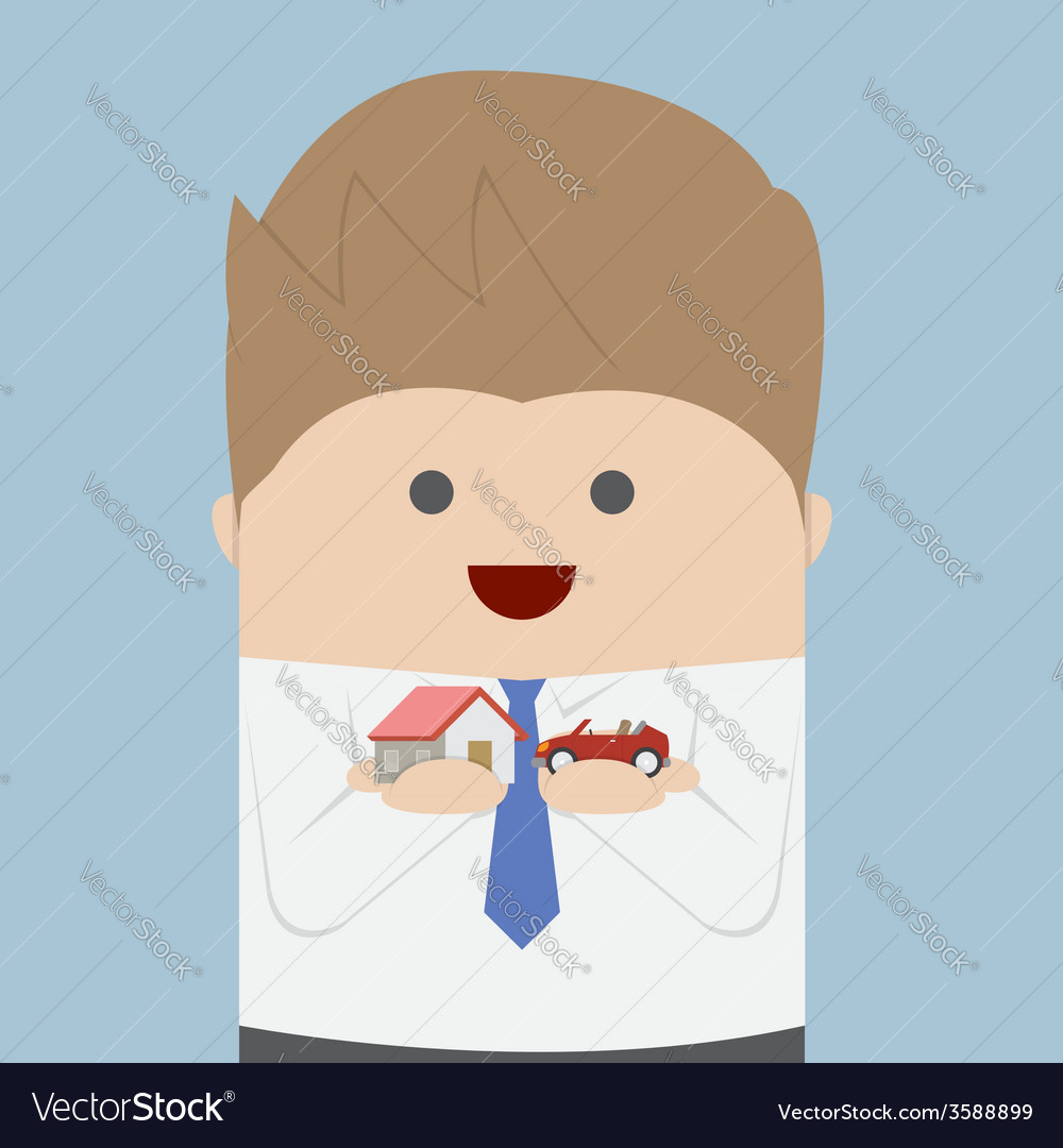 Businessman holding car and house model on his han vector | Price: 1 Credit (USD $1)