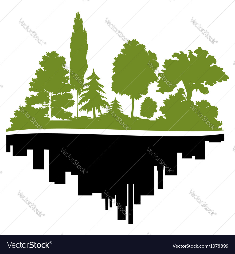 City and forest vector | Price: 1 Credit (USD $1)