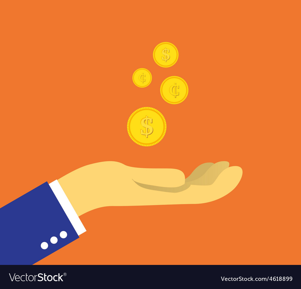 Coins on the palm vector | Price: 1 Credit (USD $1)