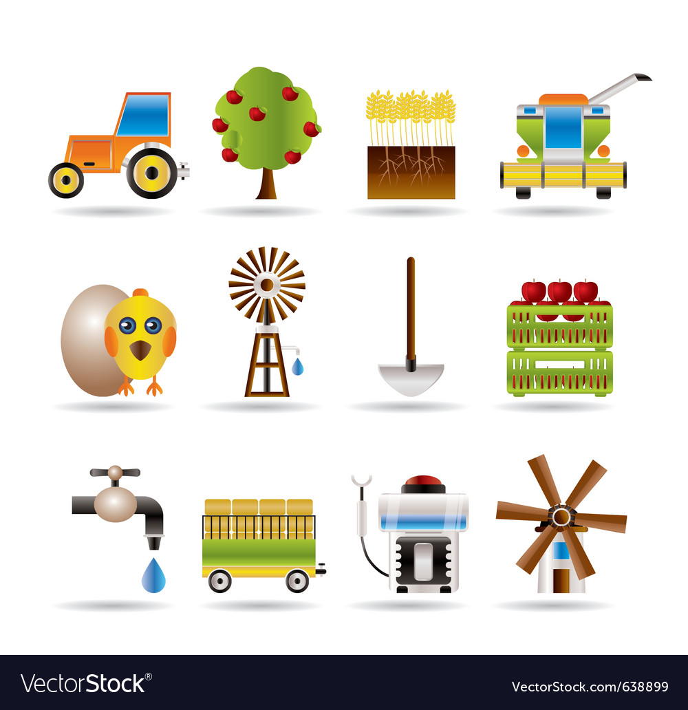 Farming industry and farming tools icons vector | Price: 1 Credit (USD $1)