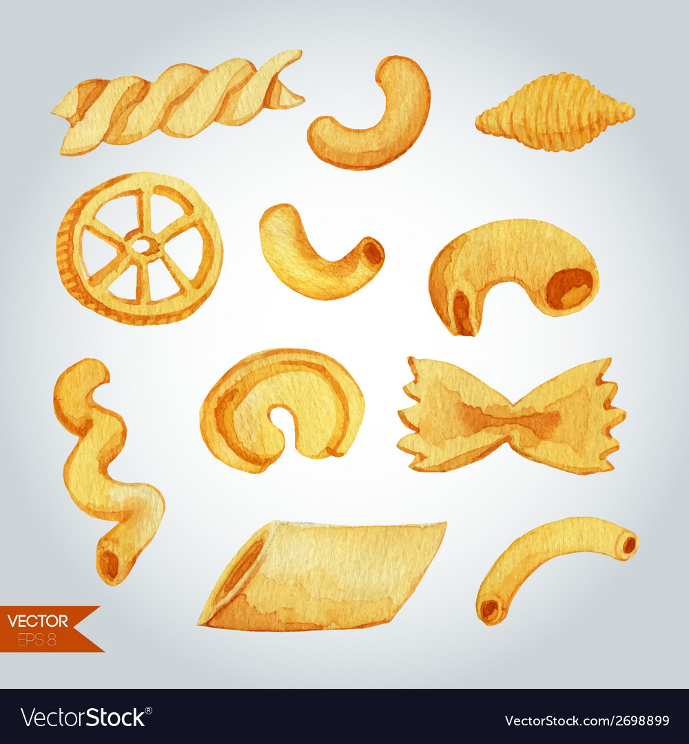 Hand drawn pasta varieties vector | Price: 1 Credit (USD $1)