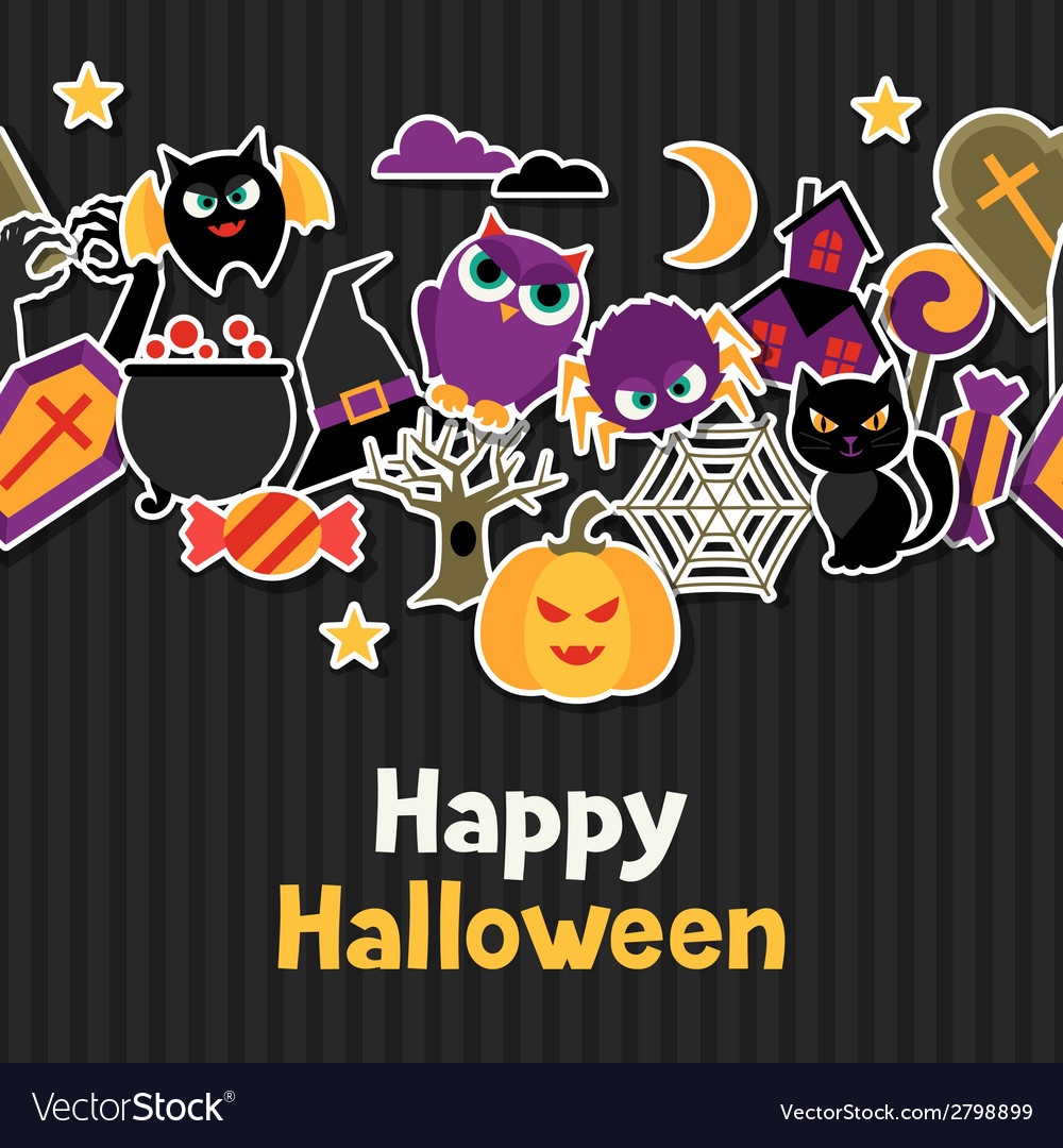 Happy halloween greeting card with flat sticker vector | Price: 1 Credit (USD $1)