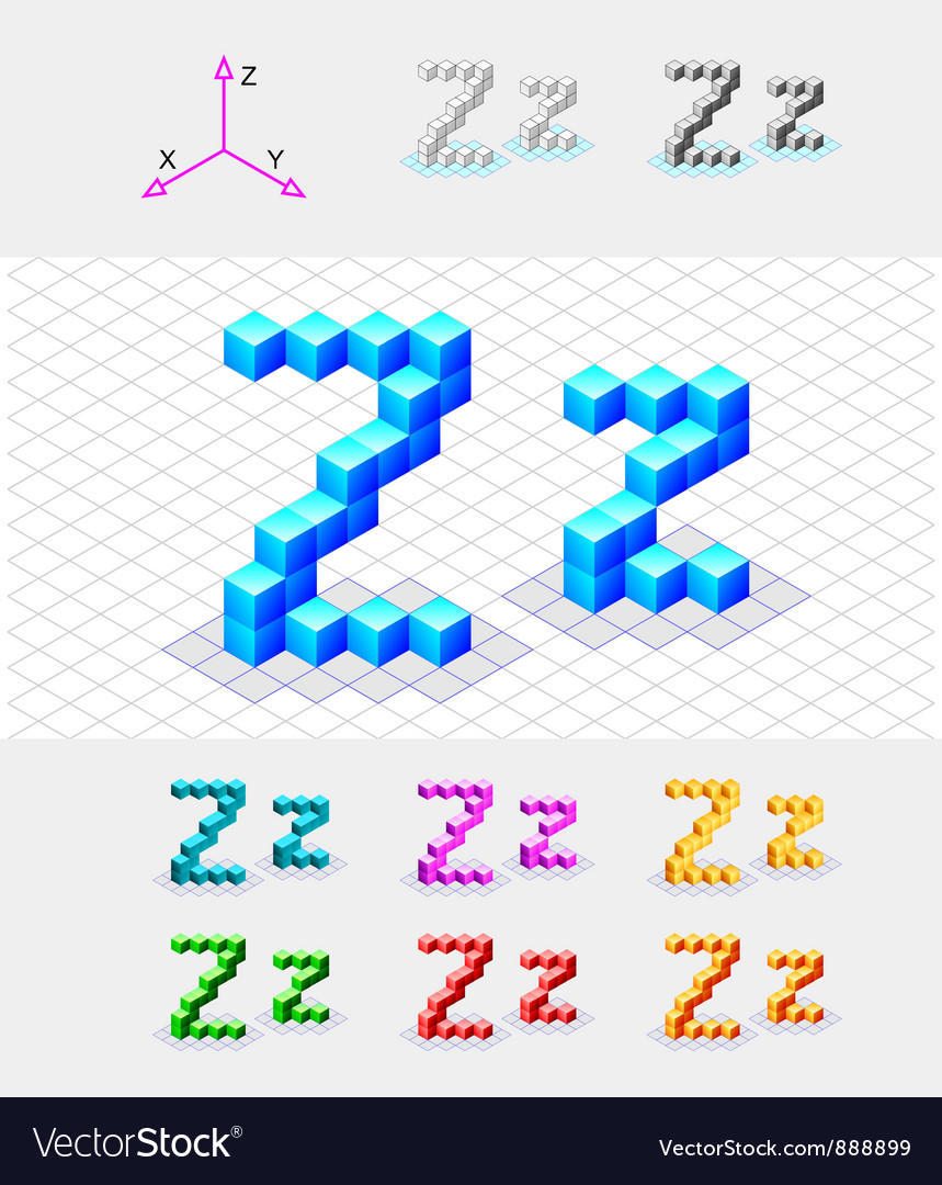 Isometric font from the cubes letter z vector | Price: 1 Credit (USD $1)