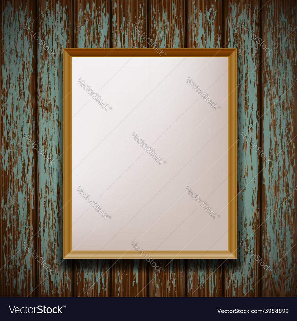 Picture frame hanging on old wooden wall vector | Price: 1 Credit (USD $1)