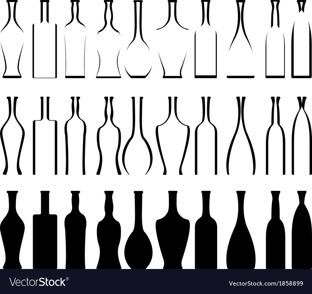 Set of bottles stencils and silhouettes vector | Price: 1 Credit (USD $1)