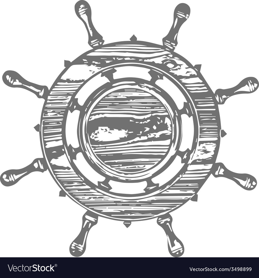 Ship wheel marine wooden vintage isolated white vector | Price: 1 Credit (USD $1)