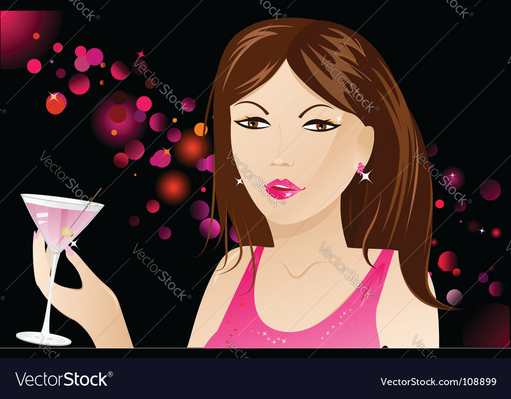 Woman with martini in nightclub vector | Price: 3 Credit (USD $3)