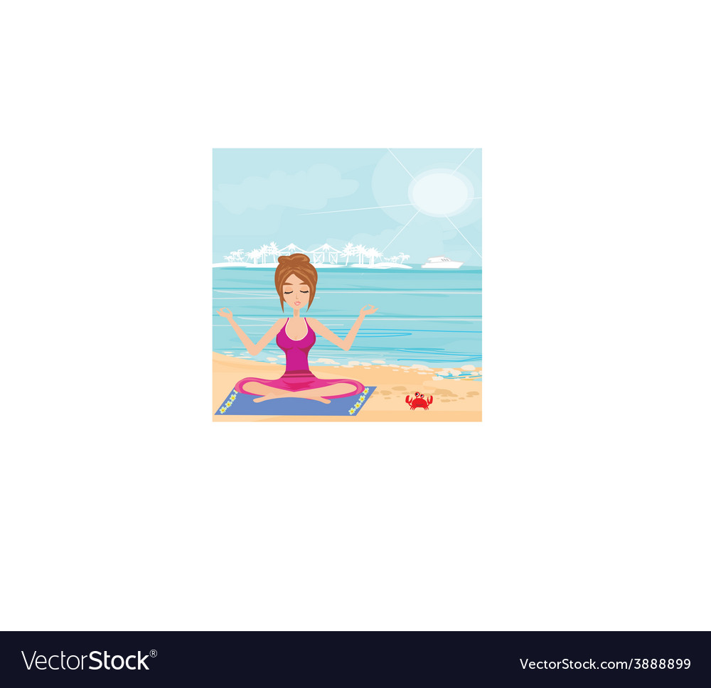 Yoga on a tropical beach vector | Price: 1 Credit (USD $1)
