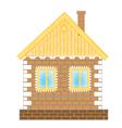 Brick house on white background vector