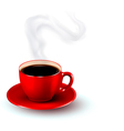 Perfect red cup of coffee with steam coffee design vector