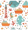 Marine seamless pattern with sea related items vector