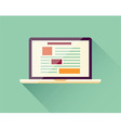 Flat icon laptop electronic device responsive vector