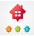 Home icon pin set isolated on white vector