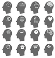 Thinking heads icons vector