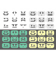 4 different emotions smiles set vector