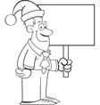Cartoon man wearing a santa hat and holding a sign vector