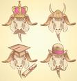 Sketch unusual goats set vector