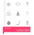 Black winter icon set vector