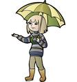 Boy with umbrella vector