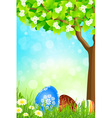Green tree background with easter eggs vector