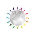 Rainbow running around the world vector