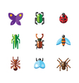 Flat insect bug icons vector